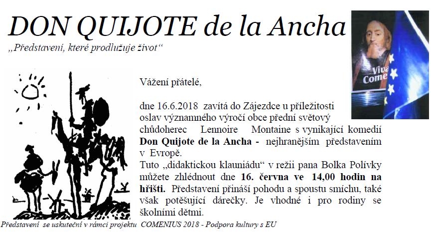 Don Quijote v Zájezdci 16.6.2018 na oslavách 700 let obce