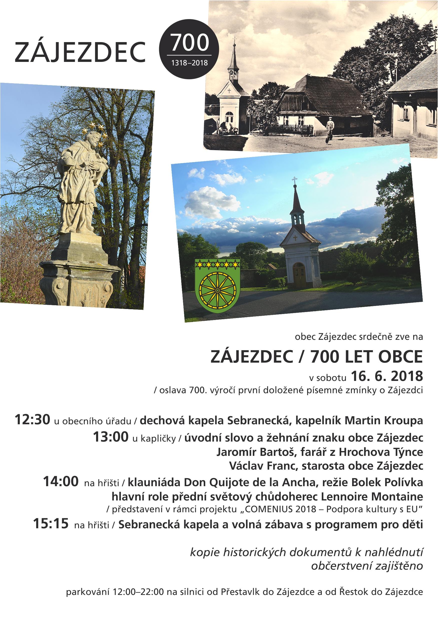 Pozvánka na oslavu 700. výročí obce Zájezdec