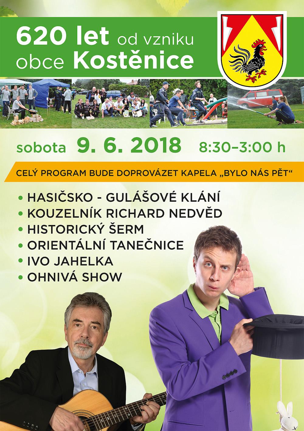 Pozvánka na oslavy 620. výročí obce Kostěnice